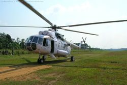 An Mi-17 at Shabundaan ALG on a food supply sortie