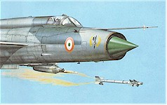 This painting shows the Battle Axes logo adorning the MiG-21MFs during the 70s